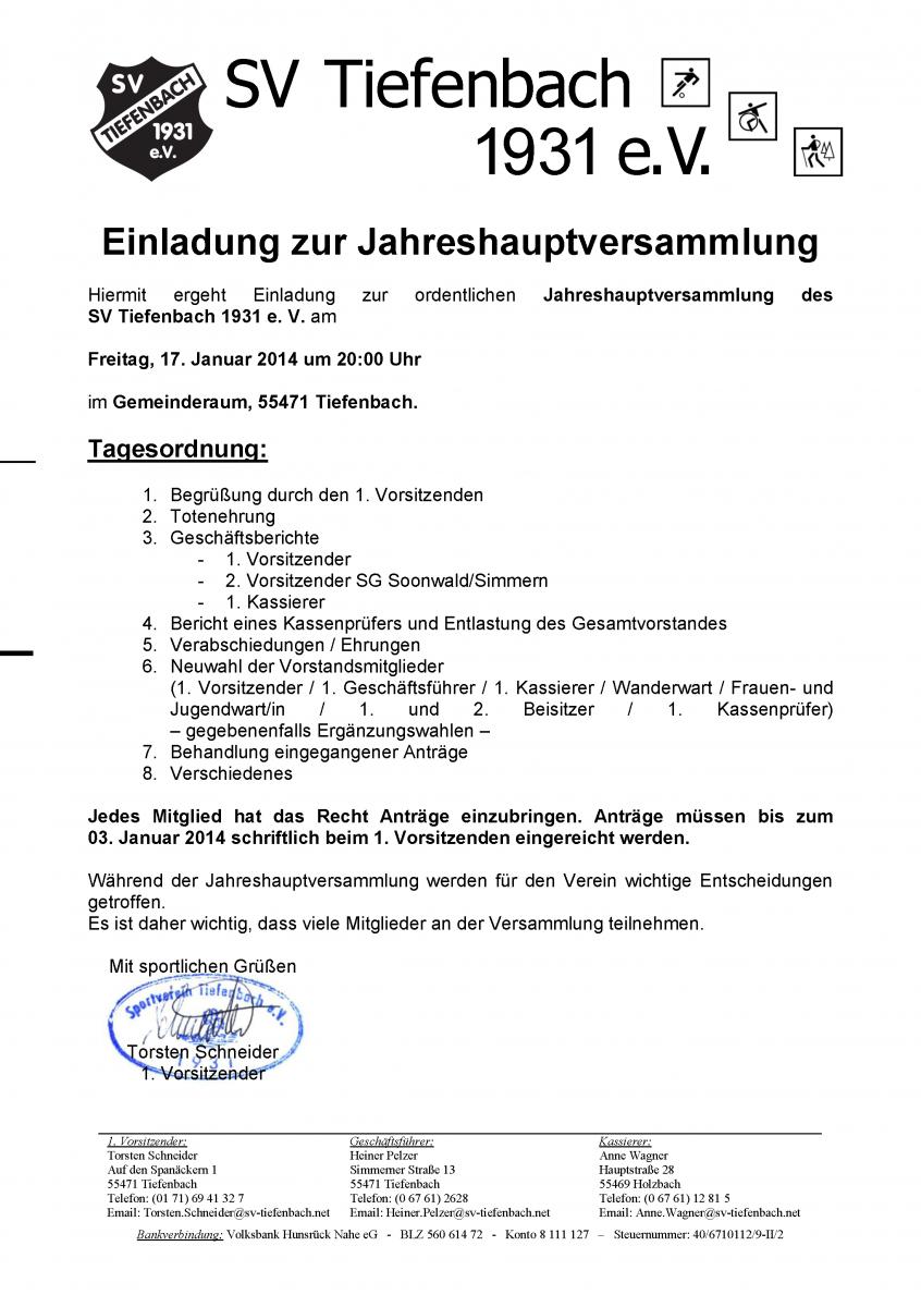 sv tiefenbach 1931 e. v. | einladung zur mitgliederversammlung 2014, Einladung